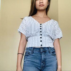 Bershka White Striped Button Blouse